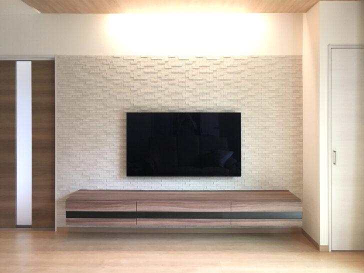 フロートテレビボードでコンセントも配線も見えないリビングが完成