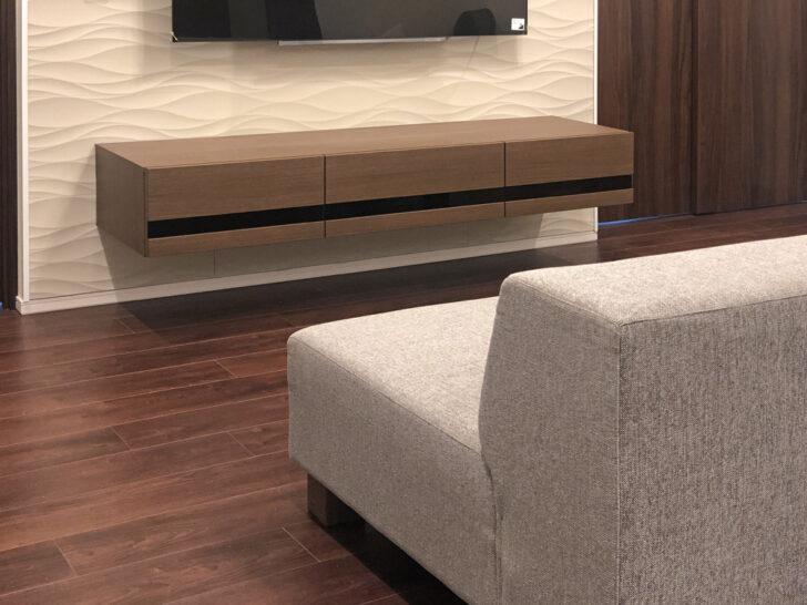 このフロートテレビボードを見て「後付け」だと思う人はいないでしょう