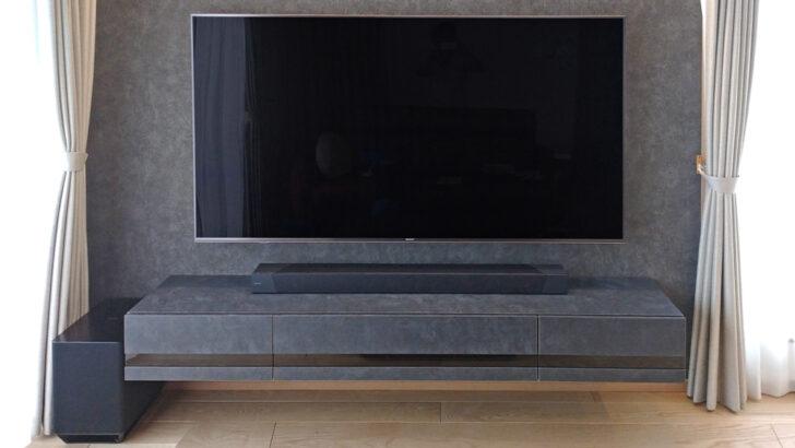 75型テレビとサラウンドシステムとフロートテレビボードでシンプルなシアタールーム兼リビングが完成